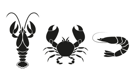 Shrimp, crawfish and crab icons. Seafood design elements. Vector illustration.