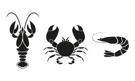 Symbole für Garnelen, Langusten und Krabben. Designelemente für Meeresfrüchte. Vektor-Illustration.