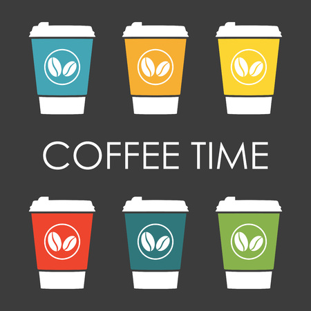 Coffee set with disposable cup of coffee icon. Vector illustration. Stockfoto - 109733023