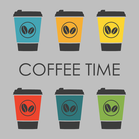 Take away Coffee set. Disposable cup of coffee icons. Vector illustration. Stock Illustratie