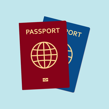 Red and blue passports in flat style. Vector illustration.