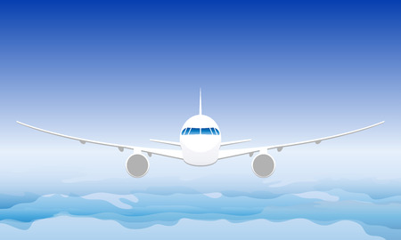 Plane in the sky. Front view. Vector illustration Illustration