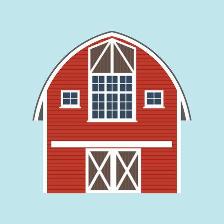 Barn icon. Vector illustration of red farm house.