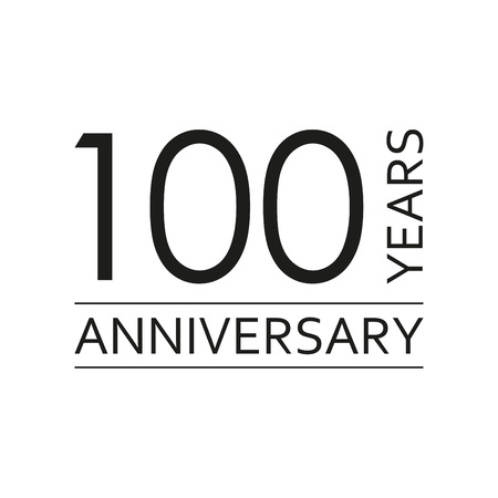 100 years anniversary emblem. Anniversary icon or label. 100 years celebration and congratulation design element. Vector illustration.  イラスト・ベクター素材