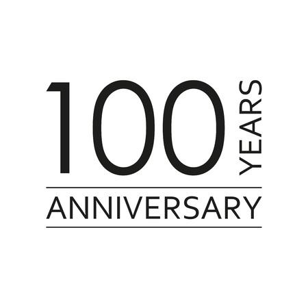 100 years anniversary emblem. Anniversary icon or label. 100 years celebration and congratulation design element. Vector illustration. Ilustração