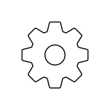 Cogs outline icon. Gear sign Isolated on white background. Vector illustration.