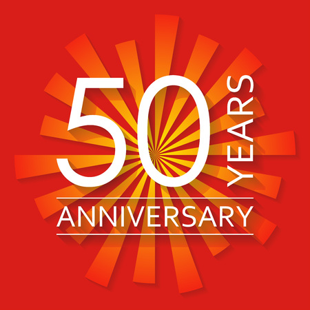 50 years anniversary emblem. Anniversary icon or label. 50 years celebration and congratulation design element.