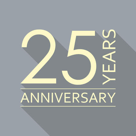 25 years anniversary icon. Anniversary decoration template. Vector illustration.