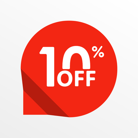 Sale tag icon. 10 percent off. Price off and discount tag design element. Vector illustration.