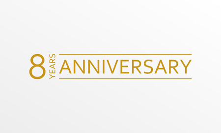 8 years anniversary emblem. Anniversary icon or label. 8 years celebration and congratulation design element. Vector illustration.