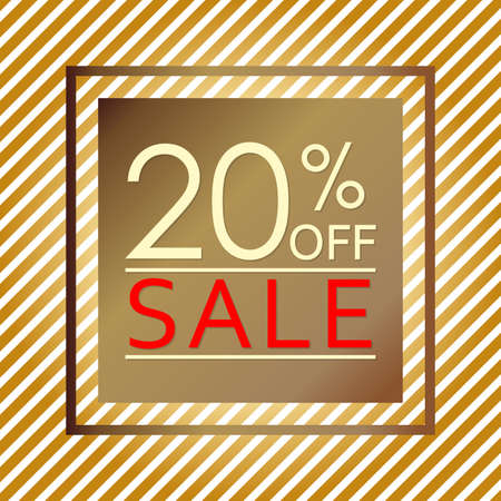 Sale banner with 20 percent price off. Sale and discount tag template. Vector illustration.