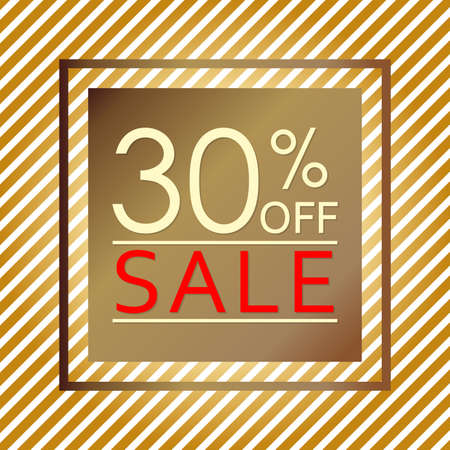 Sale banner with 30 percent price off. Sale and discount tag template. Vector illustration.