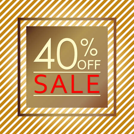 Sale banner with 40 percent price off. Sale and discount tag template. Vector illustration.