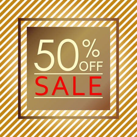 Sale banner with 50 percent price off. Sale and discount tag template. Vector illustration.