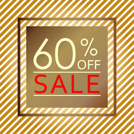 Sale banner with 60 percent price off. Sale and discount tag template. Vector illustration.