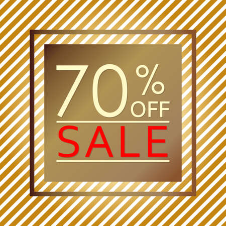 Sale banner with 70 percent price off. Sale and discount tag template. Vector illustration. Ilustração