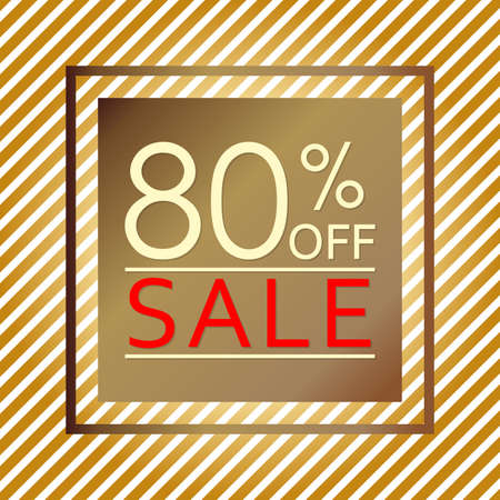 Sale banner with 80 percent price off. Sale and discount tag template. Vector illustration.
