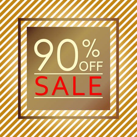 Sale banner with 90 percent price off. Sale and discount tag template. Vector illustration.