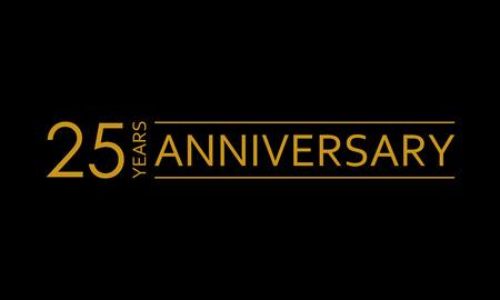 Icono de aniversario de 25 años. Emblema de 25 cumpleaños. Elemento de diseño de aniversario. Ilustración de vector.