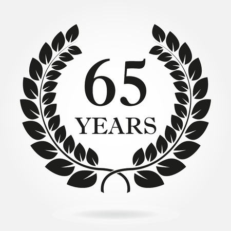 65 years. Anniversary or birthday icon with 65 years and  laurel wreath. Vector illuatration.