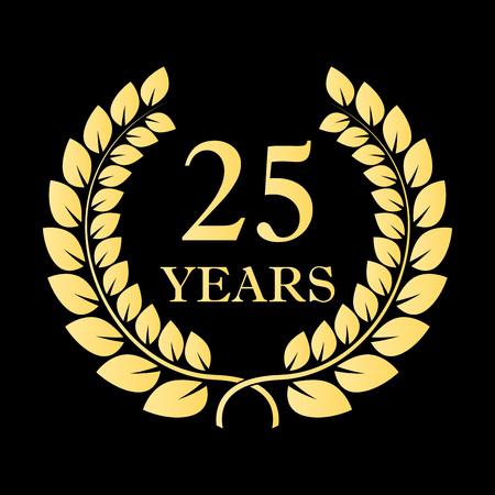 25 years icon. 25th anniversary or birthday laurel wreath emblem. Vector illustration.