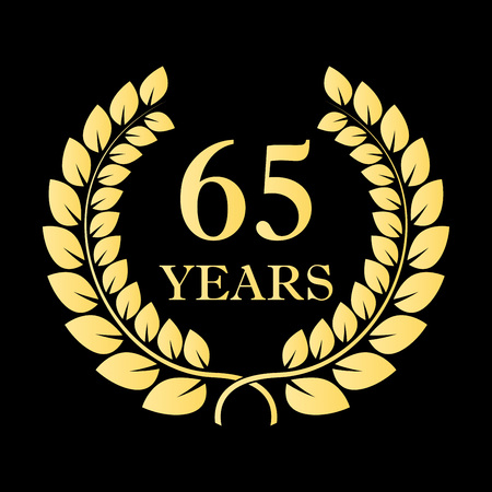 65 years icon. 65th anniversary or birthday laurel wreath emblem. Vector illustration.