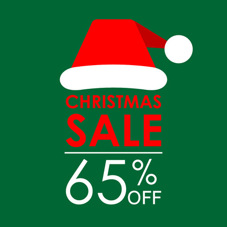 65% off sale. Christmas sale banner and discount design template with Santa Claus hat. Vector illustration. Illustration