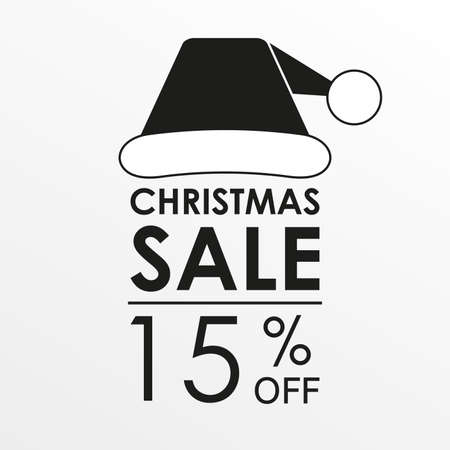 15% off sale. Christmas sale banner and discount design template with Santa Claus hat. Vector illustration. Illustration