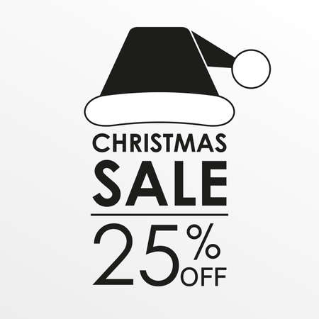 25% off sale. Christmas sale banner and discount design template with Santa Claus hat. Vector illustration.