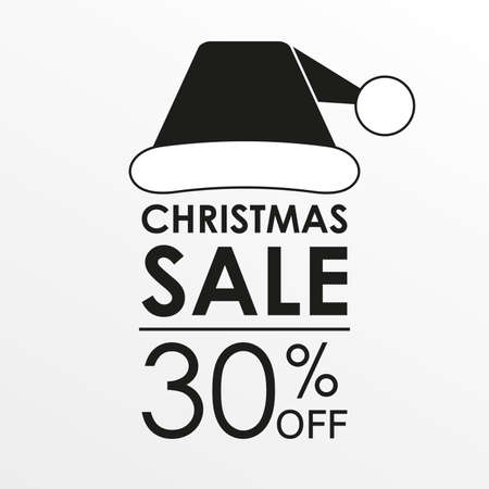 30% off sale. Christmas sale banner and discount design template with Santa Claus hat. Vector illustration. Illustration