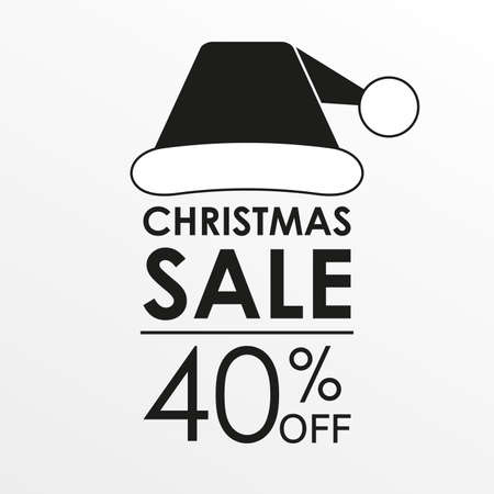 40% off sale. Christmas sale banner and discount design template with Santa Claus hat. Vector illustration.
