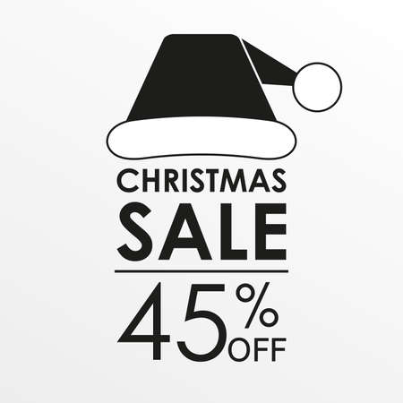 45% off sale. Christmas sale banner and discount design template with Santa Claus hat. Vector illustration. Illustration