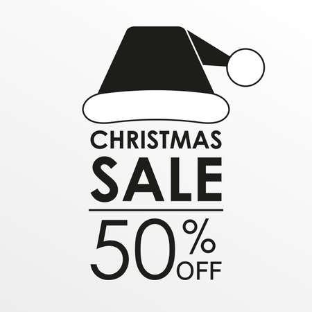 50% off sale. Christmas sale banner and discount design template with Santa Claus hat. Vector illustration.