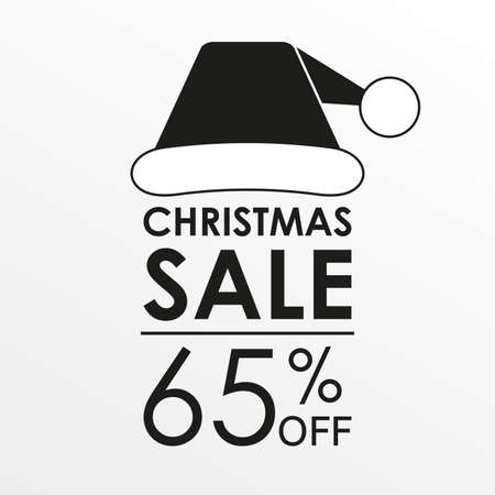 65% off sale. Christmas sale banner and discount design template with Santa Claus hat. Vector illustration. 向量圖像