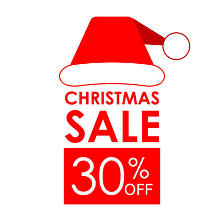 30% off sale. Christmas sale banner and discount design template with Santa Claus hat.