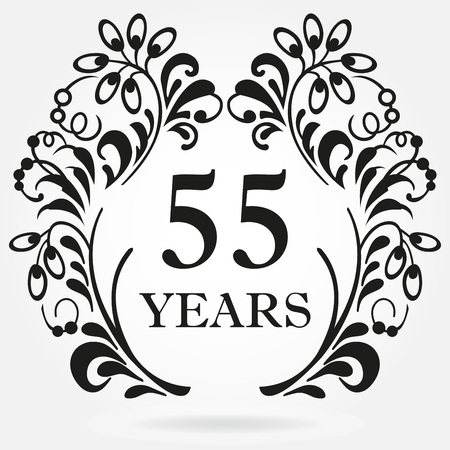 55 years anniversary icon in ornate frame with floral elements. Template for celebration and congratulation design. 55th anniversary label. Vector illustration.