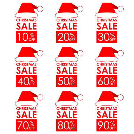 Christmas sale banner and discount set with Santa Claus hat. 10,20,30,40,50,60,70,80,90% price off. Vector illustration.