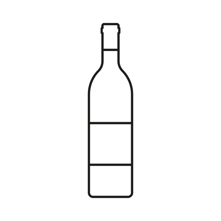 Wine bottle outline icon isolated on white background. Vector illustration. Stock Vector - 112186461