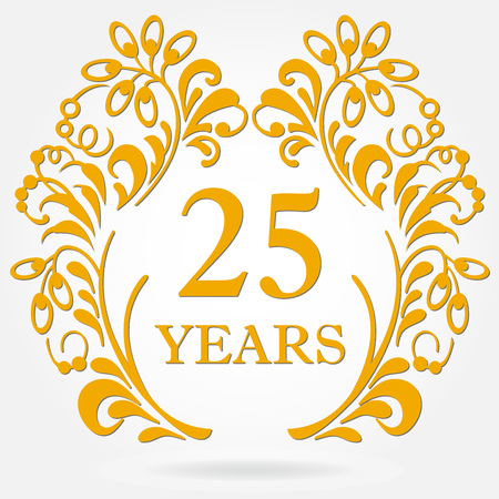 25 years anniversary icon in ornate frame with floral elements. Template for celebration and congratulation design. 25th anniversary golden label. Vector illustration. Illustration
