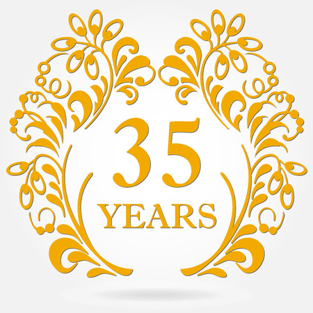 35 years anniversary icon in ornate frame with floral elements. Template for celebration and congratulation design. 35th anniversary golden label. Vector illustration.