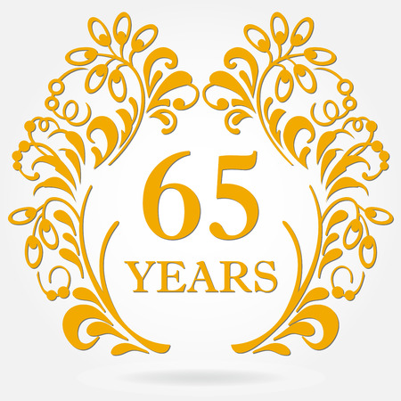 65 years anniversary icon in ornate frame with floral elements. Template for celebration and congratulation design. 65th anniversary golden label. Vector illustration.