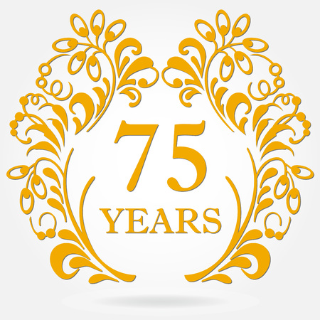 75 years anniversary icon in ornate frame with floral elements. Template for celebration and congratulation design. 75th anniversary golden label. Vector illustration.