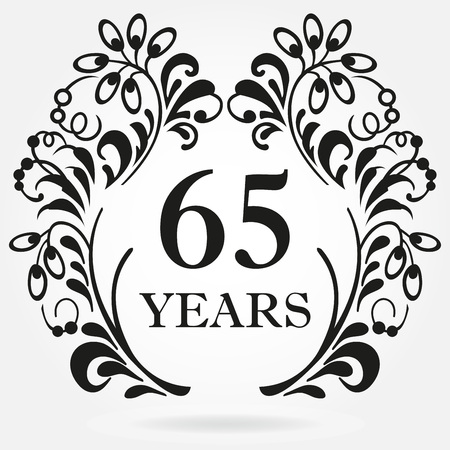 65 years anniversary icon in ornate frame with floral elements. Template for celebration and congratulation design. 65th anniversary label. Vector illustration.