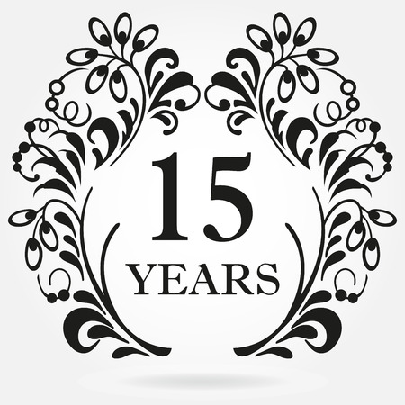 15 years anniversary icon in ornate frame with floral elements. Template for celebration and congratulation design. 15th anniversary label. Vector illustration.