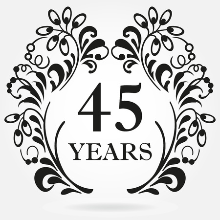 45 years anniversary icon in ornate frame with floral elements. Template for celebration and congratulation design. 45th anniversary label. Vector illustration. Ilustración de vector