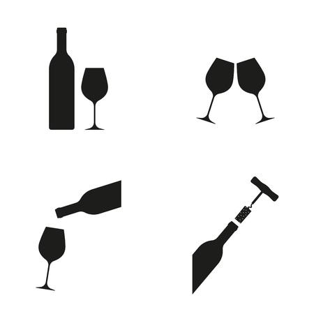 Wine icon set: wine bottle, glasses, corkscrew and cork. Vector illustration.