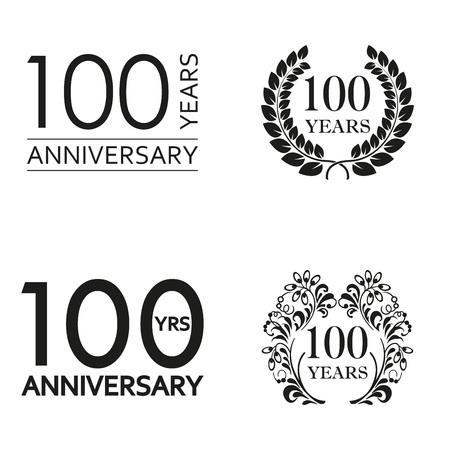 Conjunto de aniversario de 100 años. Emblema de icono de aniversario o colección de etiquetas. Elemento de decoración de celebración y felicitación de 100 años. Ilustración vectorial.