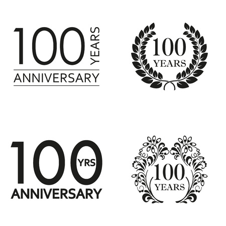 100 years anniversary set. Anniversary icon emblem or label collection. 100 years celebration and congratulation decoration element. Vector illustration.