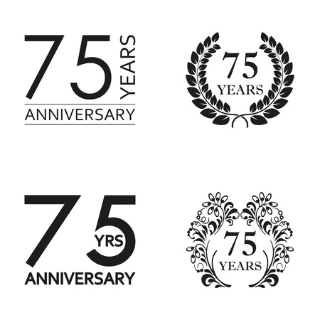 75 years anniversary set. Anniversary icon emblem or label collection. 75 years celebration and congratulation decoration element. Vector illustration.