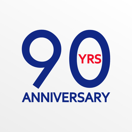 90 years anniversary icon. Anniversary decoration template. Celebrating and birthday emblem. Vector illustration.